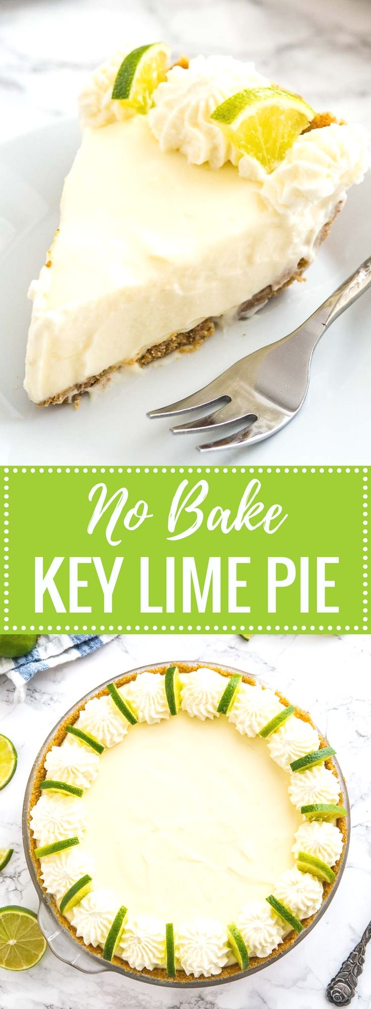 No Bake Key Lime Pie is a delicious, easy summer dessert made with only a few, simple ingredients! An easy-to-prep NO-BAKE lime cake recipe that is perfect for when you just CANNOT turn your oven on in the summertime.