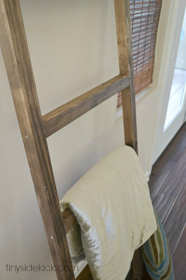 I made this and it looks great! I used a bleach on top of stain to give it a driftwood effect. DIY Blanket Ladder {Pottery Barn Knock Off}