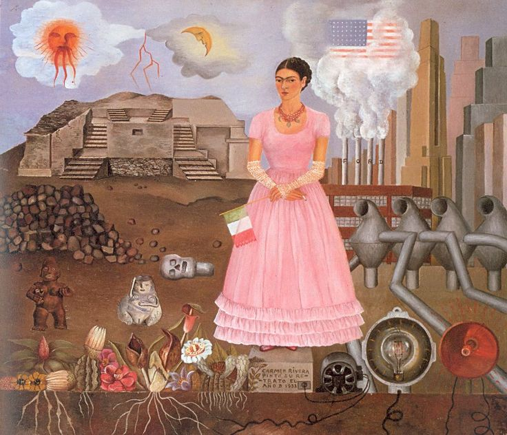 Frida Kahlo, Self-Portrait on the Borderline between Mexico and the United States - 1932 #art #painting #kahlo