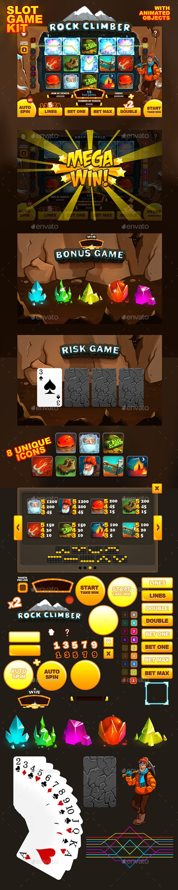 Rock Climber slot game kit — Photoshop PSD #game art #slot • Download ➝ https://graphicriver.net/item/rock-climber-slot-game-kit/10755235?ref=pxcr