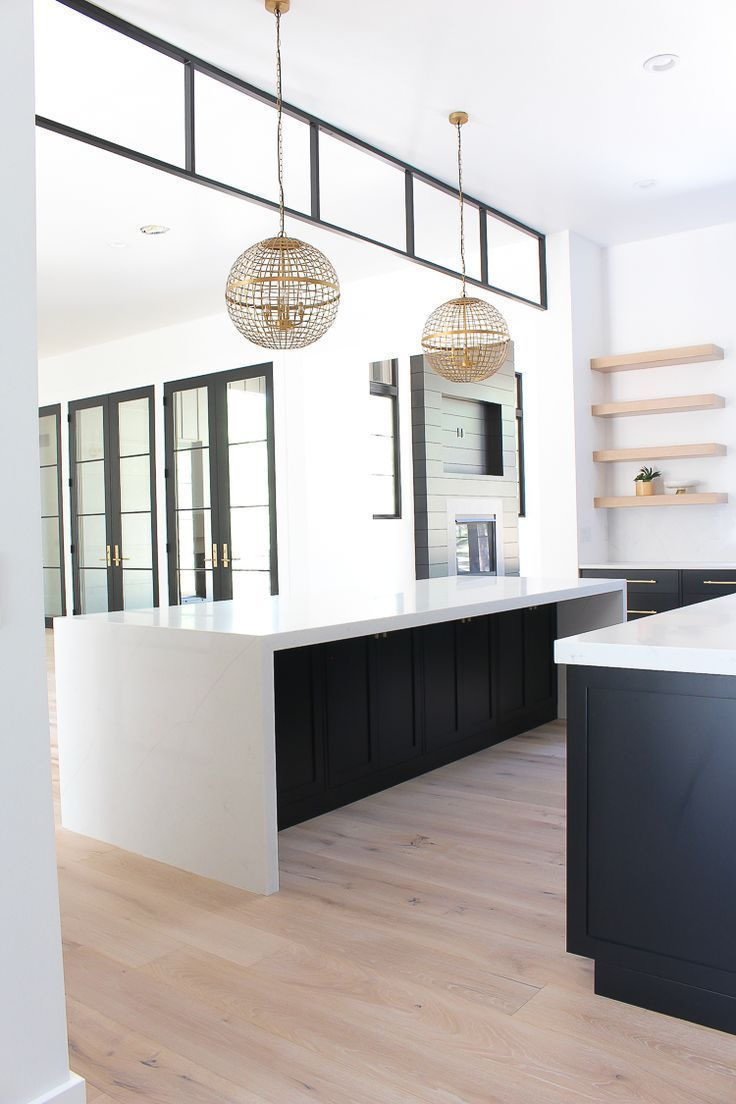 Black Steel Transom Modern Kitchen With Black Cabinets Double Islands Get Your Free African In Modern Kitchen Design White Oak Kitchen Black Kitchen Cabinets