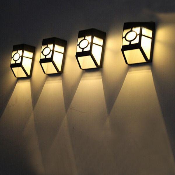 4pcs Outdoor Solar Power Led Lights Garden Path Fence Lamp Warm