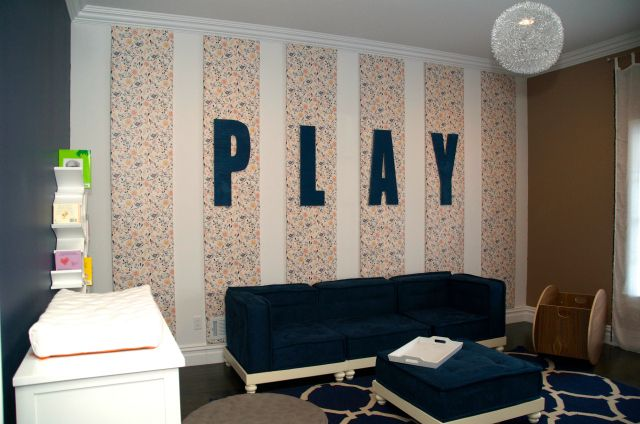 We love this modern, navy playroom created for Kevin & Danielle Jonas' daughter! We love the wallpapered accent wall. #playroom #modernPlayrooms Ideas, Kids Playrooms, Children Room, Child Playrooms, Children Playrooms, Navy Playrooms, Playrooms Create, Playrooms Modern, Accent Wall
