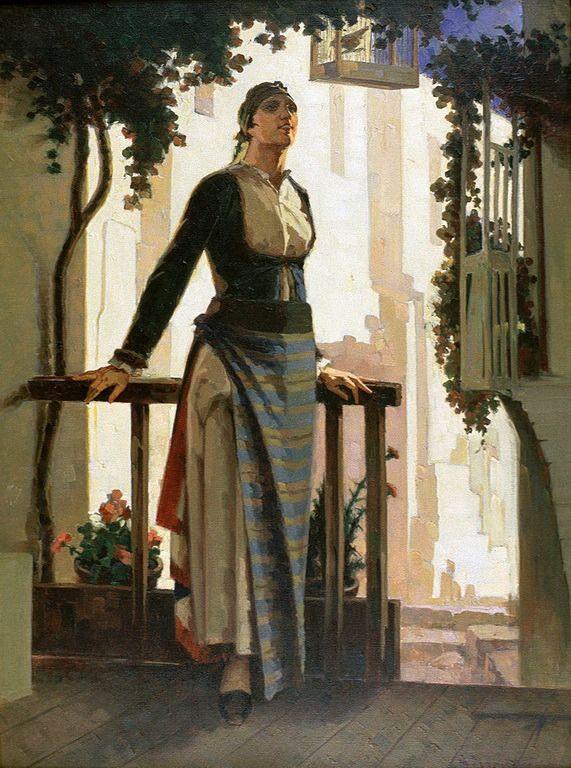 Γεραλής Απόστολος – Geralis Apostolos [1886-1983]-Γυναίκα με λαική φορεσιά