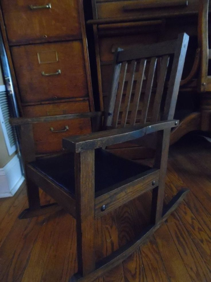 ANTIQUE MISSION OAK CHILDS ROCKING CHAIR NICE PATINA LEATHER SEAT ...