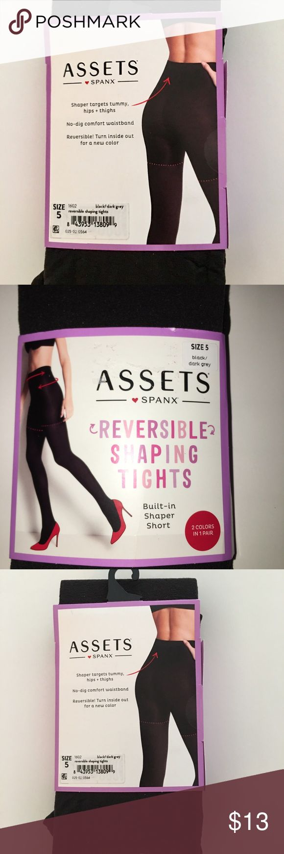 Tights by Assets Spanx, NEW UNOPENED Black/Grey Tights with built-in shaper.  Size 5 which fits height: 5'4 to 6'0. Weight  220-265 pounds.  NWT.  I purchased the wrong size,  just trying to make my $ back.. Assets By Spanx Accessories Hosiery & Socks