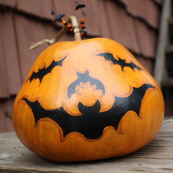 Halloween Canteen Gourd Hand Painted by GeralynChouinard on Etsy