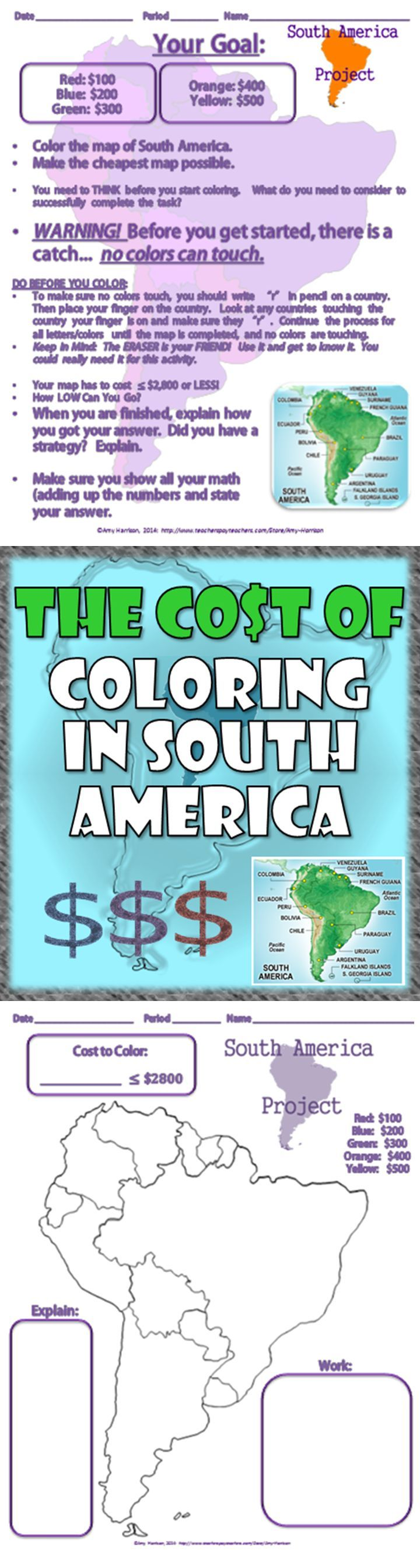 Perfect for back to school in middle school! How does this activity work? Directions: •Color the map of South America. Each color is worth a different dollar amount.  •Make the cheapest map possible.  •WARNING! Before you get started, there is a catch... no colors can touch.