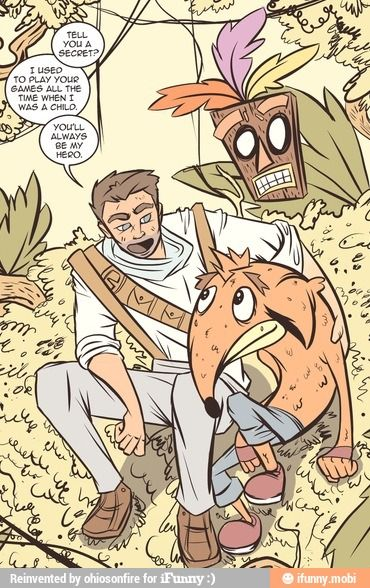 Crash Bandicoot with Nathan Drake: Welp, that hit me in right in mah feels. ❤️