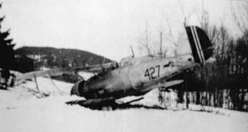 April 9. 1940. A Norwegian Gloster Gladiator biplane after forced landing outside Oslo. The seven serviceable Gladiators defending Fornebu airport downed 4 German planes this day.