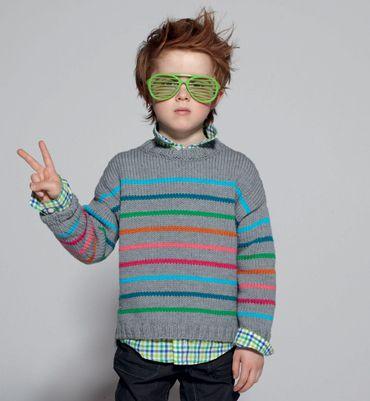 Modèle pull en jersey rayé - Modèles tricot enfant - Phildar