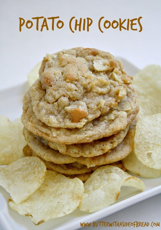 Potato Chip Cookies~ sweet & salty combination! A #recipe from the ladies at Butter With A Side of Bread #cookies