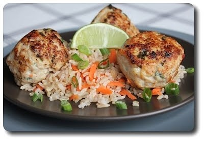 Asian Turkey Meatballs with Carrot Rice | Great Food | Pinterest