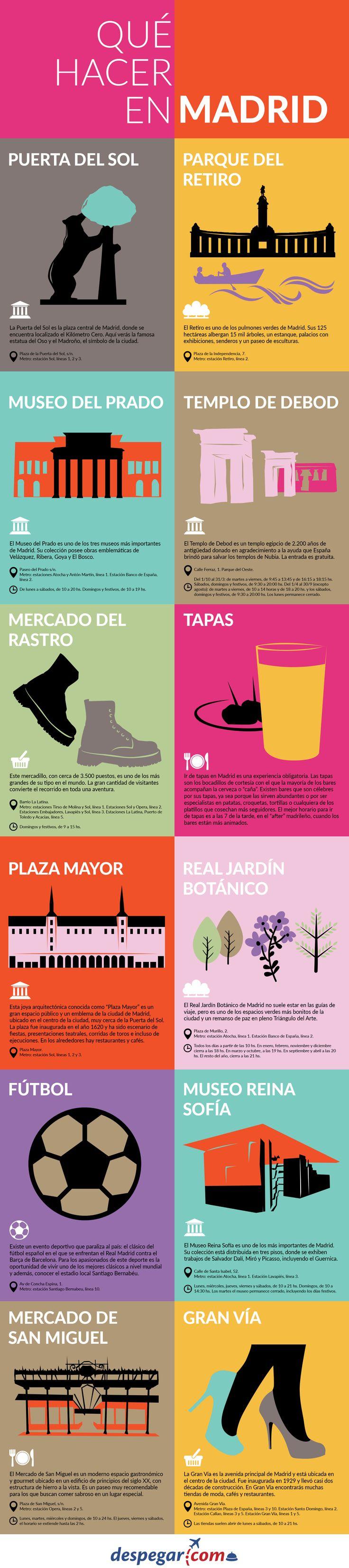 #Infografía: Qué hacer en #Madrid y 10 cosas para visitar cuando llegues. #viajar #madrid #infografía #turismo #despegar Infographic