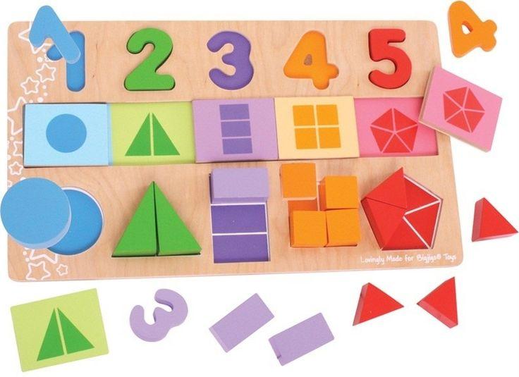dřevěná vkládací hračka, dřevěná vkládačka, velká deska s vkládáním, vkládání čísla, tvary, barvy, dřevěná didaktická hračka - Dřevěné hračky, dřevěné dekorace, montessori hračky