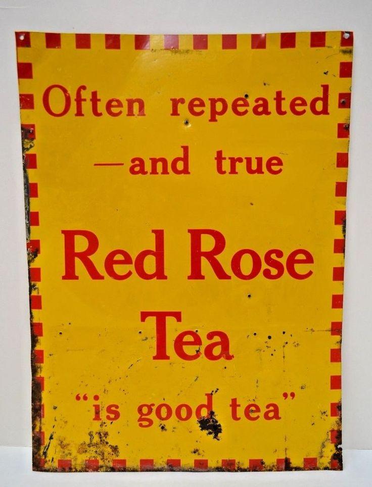 Rare Vintage 1960's RED ROSE TEA Store Advertising Sign 12x16 Embossed Tin 60s #RedRoseTea