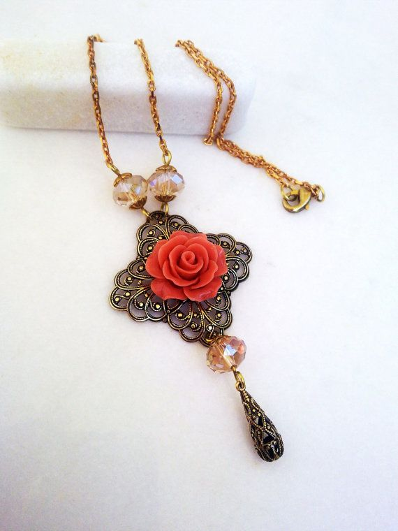 Shabby Chic Necklace / Romantic Necklace / Crystal Necklace / Rose Necklace / Peach Necklace / Cottage Chic Jewelry
