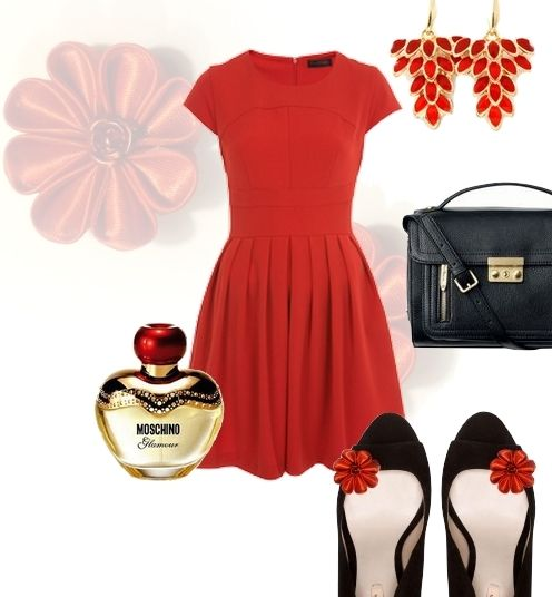 Little red dress - shoe clips made by broshka.pl