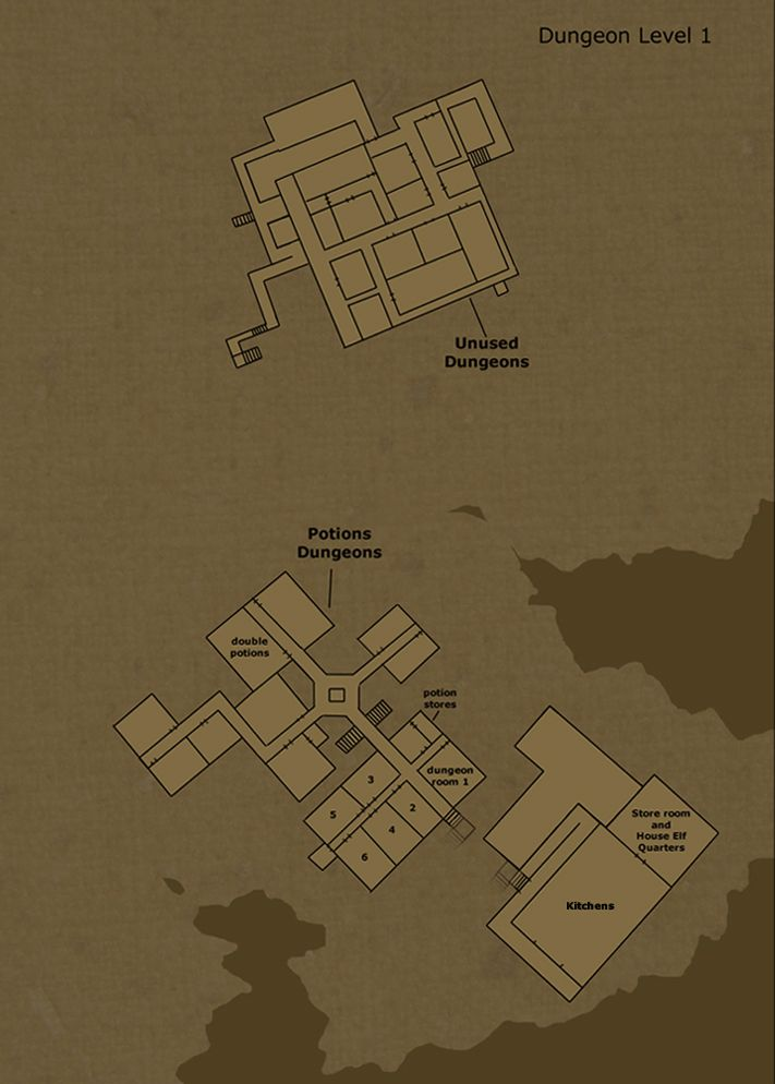 Theorized floor plan of hogwarts castle dungeon level 1 by for Floor 2 dungeon map