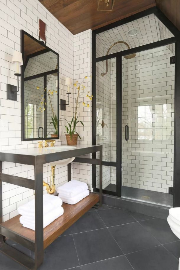 Charming Choosing New Bathroom Design Ideas 2016. Metering The Black In The Frames  Of Furniture And