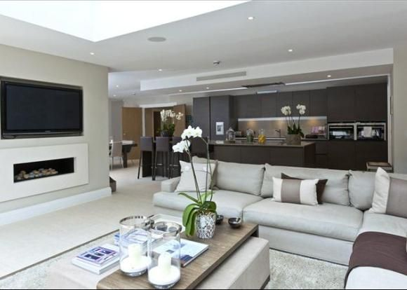 Open Plan Living I Love The Spaces And Tv Recessed On Wall