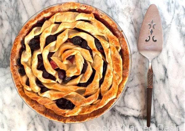 Cherry Apple Bourbon Pie - nice design on top of pie