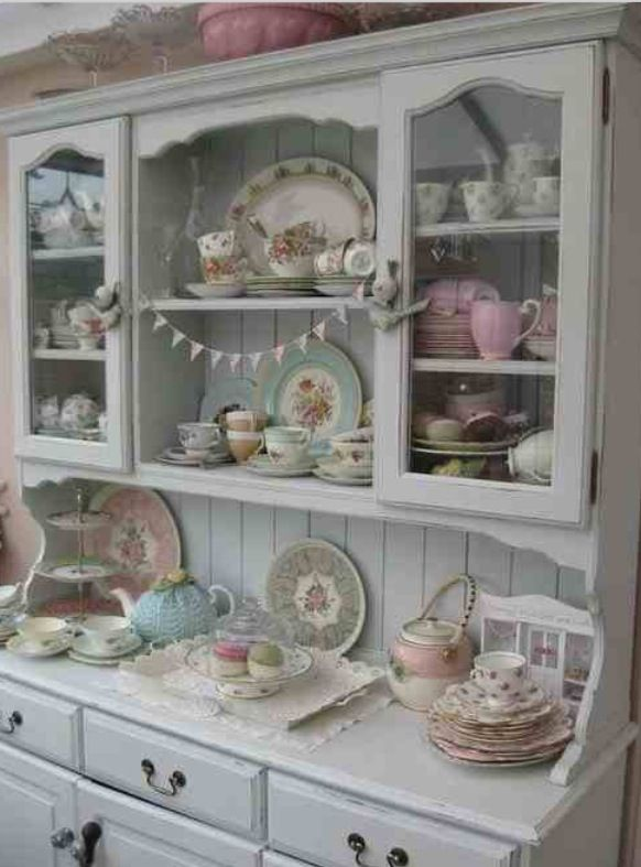 dressers on Pinterest  Painted hutch, Vintage shabby chic and Gray