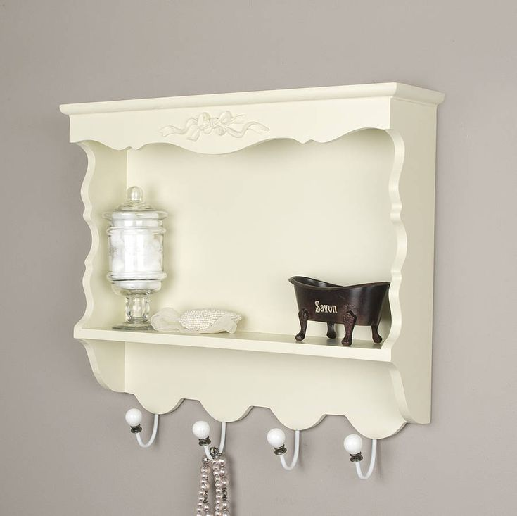 amelie ivory wooden wall cabinet with hooks by dibor | notonthehighstreet.com