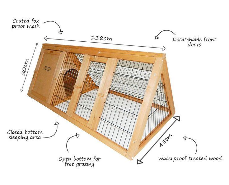 Bentley Pets - Jaula de madera para cobayas y conejos portátil - en forma de A