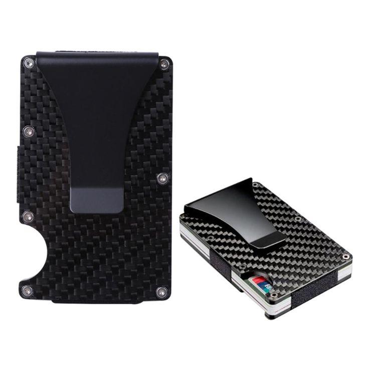Small Portable RFID Blocking Metal Wallet Slim Carbon Fiber Credit Card Holder P…