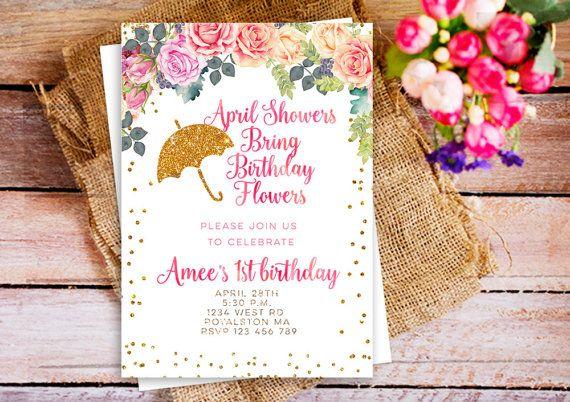 April shower bring may birthday invitation, April Showers bring Birthday Flowers, April Showers Party Invite, Spring Shower, Floral Spring
