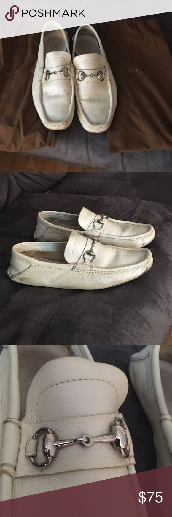 Gucci Men's White Loafers Gucci Men's White Leather Loafers. Size: 42 Europe / 9 US. Purchased in Italy. Gucci Shoes Loafers & Slip-Ons