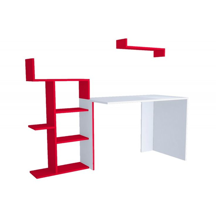 Office Breed white with bookcase red 60x168x115