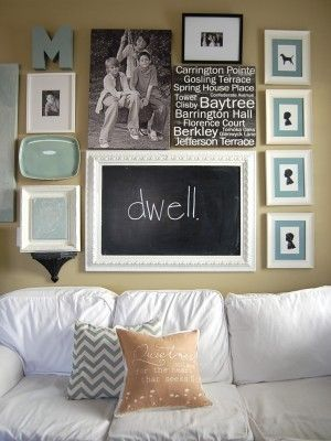 So many different ideas for displaying art and creating wall arrangements: Ideas, Wall Decor, Frames Chalkboards, Gallery Walls, Photo Wall, Galleries Wall, Chalk Boards, Chalkboards Frames, Wall Arrangements