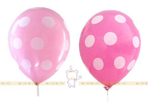 Pink Polka Balloons. This polkadots balloons will brighten up your party. Can be used on its own or combine with other color balloons. Stick, cups and ribbon are sold separate.Visit us at www.wigglegiggle.com