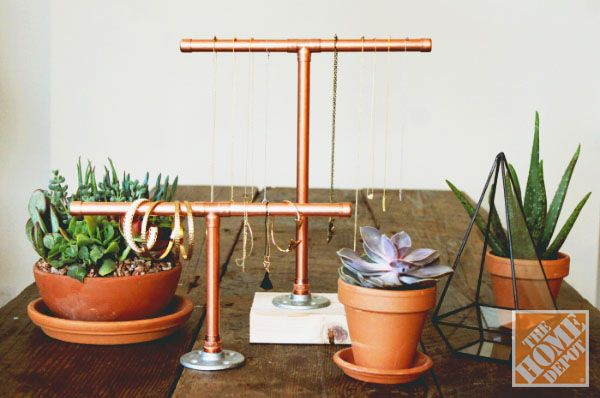 DIY Copper Pipe Jewelry Display