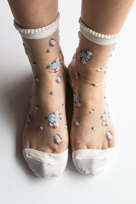 Women Brand New Hezwagarcia Floral Pattern White Nylon Sheer See Through Ankle Socks Hosiery