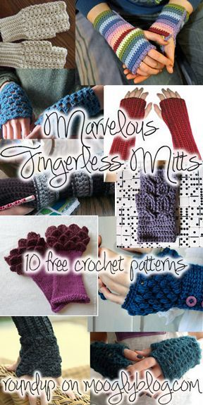 10 marvelous free crochet fingerless mitts patterns - perfect for crafting, typing, texting, and drafty spaces!