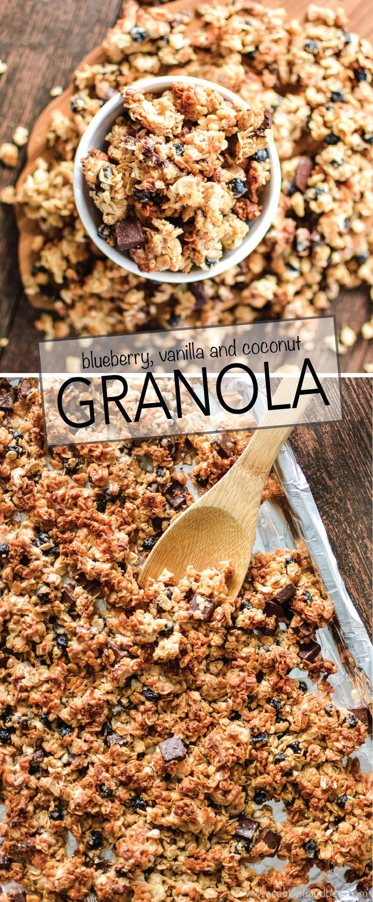 Blueberry Vanilla Granola is the perfect snack for a quick breakfast or on the go! | www.cookingandbeer.com