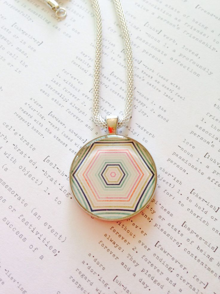 Hexagon Resin Necklace on Silver Coloured Chain $35