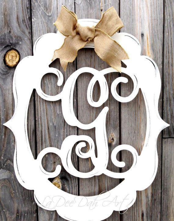 Monogram, Door Decor, Vintage Modern, Distressed, Burlap, Trendy, Monogram Door Decor, Letter, Initial, Hand Painted on Etsy, $59.00