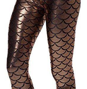 Alaroo-Women-Shiny-Mermaid-Print-Scale-Leggings-Brown-Plus-Size-XXL-0