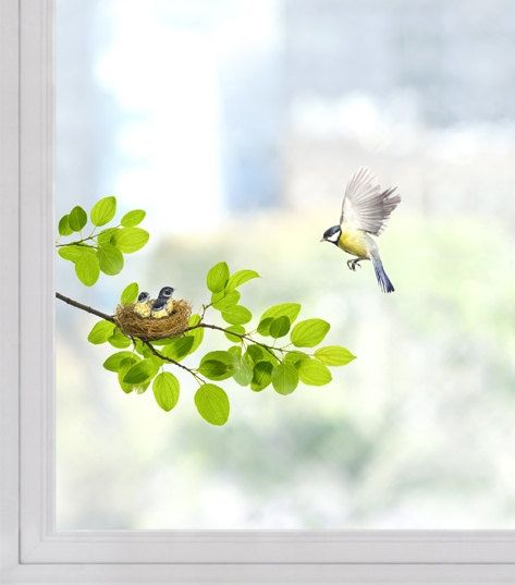 Window decal Sticker / Wall Decal Sticker / Birds / Removable Sticker by DubuDumo on Etsy https://www.etsy.com/listing/221176788/window-decal-sticker-wall-decal-sticker
