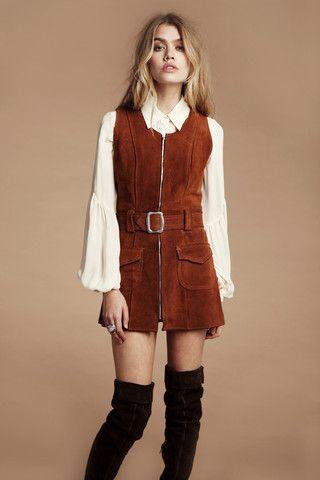 Bardot 60's Leather Dress