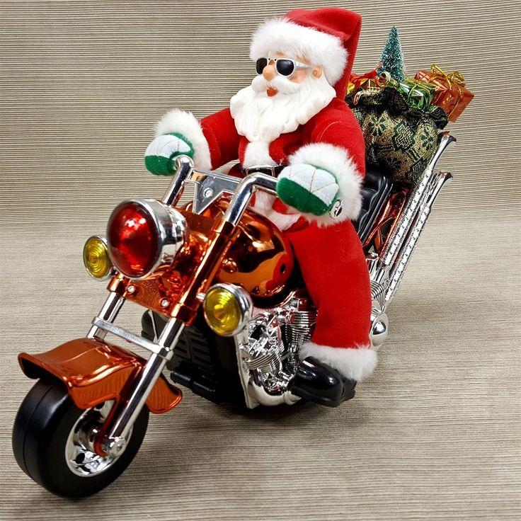 Santa on Motorcycle Biker Kurt Adler Animated Musical Moves Song Coming to Town