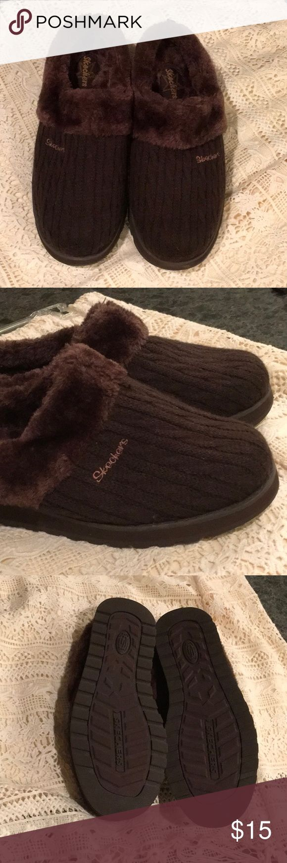 Sketchers Slippers Sketchers indoor/outdoor slide on slippers. Not worn, excellent used condition but would not know they are not new! Very comfortable and cozy. Skechers Shoes Slippers