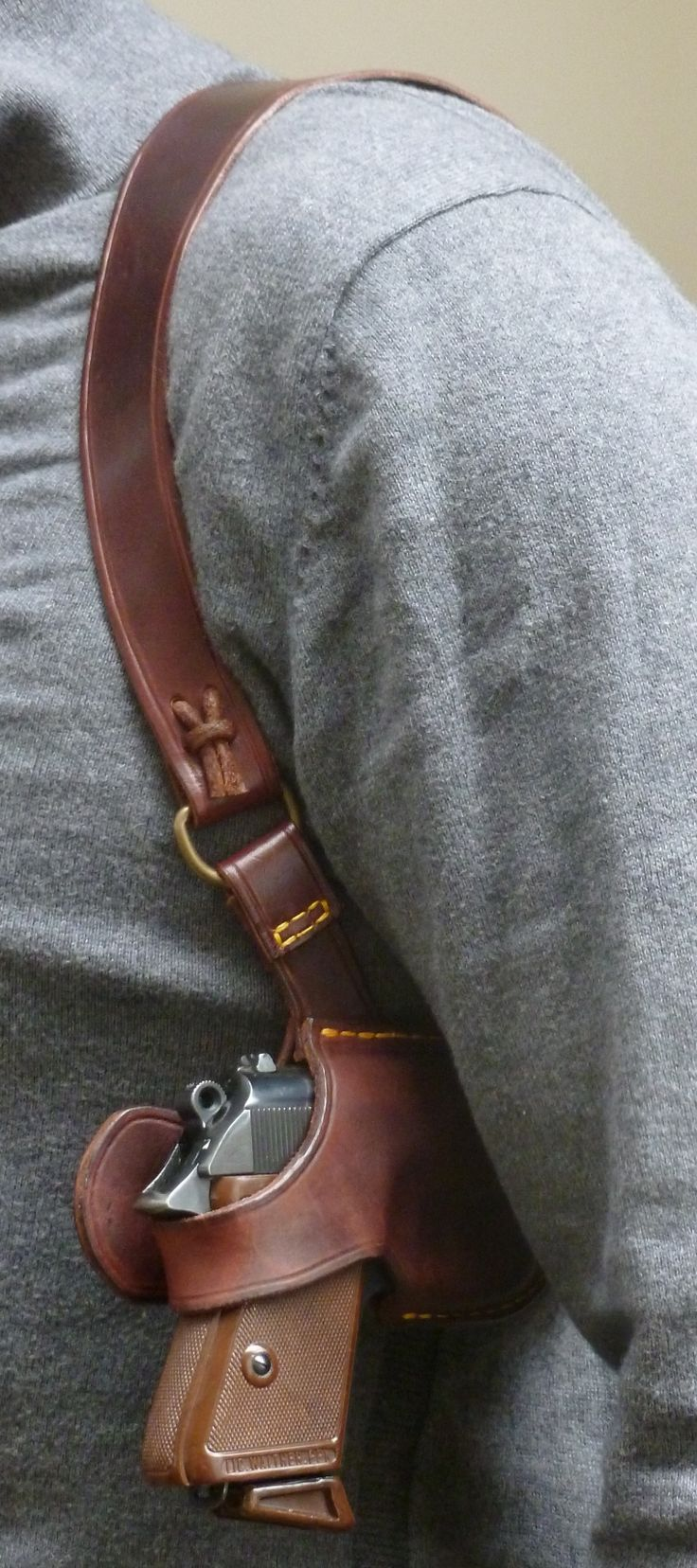 Side on view of the makeitjones custom leather Walther PPK Spectre replica holster.