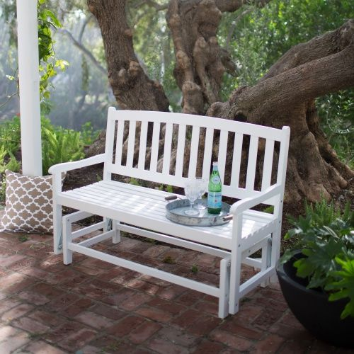 Coral Coast Pleasant Bay Curved-Back Outdoor Glider Loveseat - White - Outdoor Gliders at Hayneedle