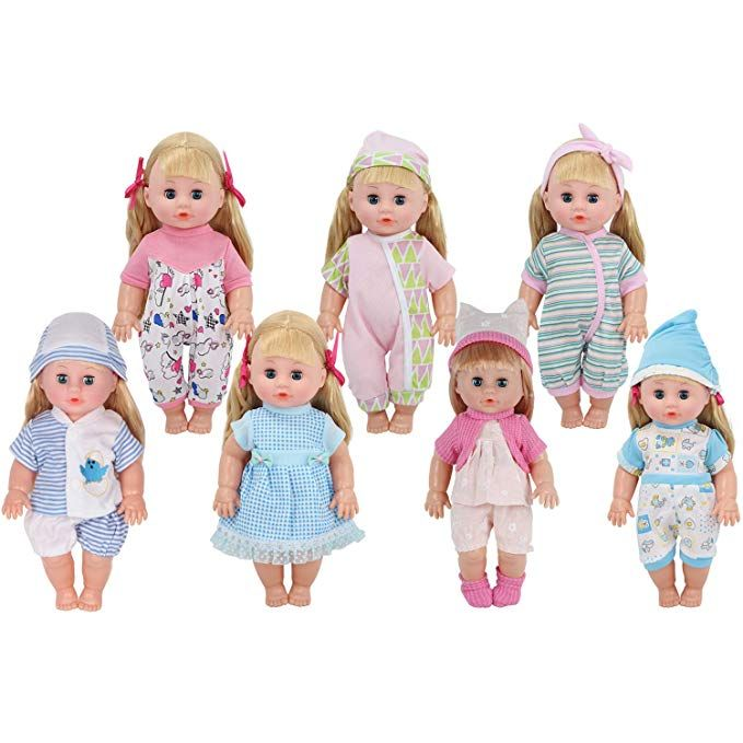 Young Buds 7pcs For 11 12 13 Inch Reborn Alive Baby Doll Clothes Outfits Accessories Birthday Xmas Gift Multicolored Baby Doll Clothes Baby Dolls Doll Clothes