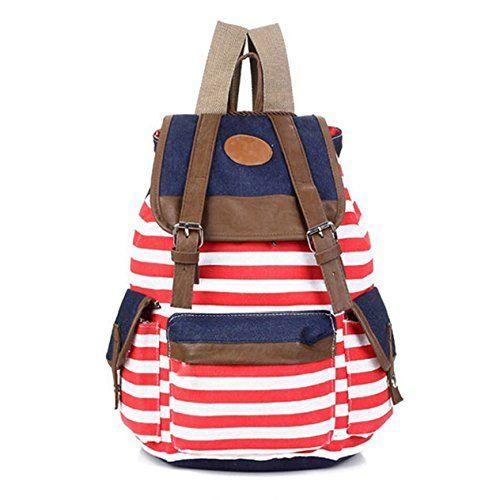 I9Q Viaggio a strisce Zaini zainetto borsa Satchel Canvas femminile scuola borsa Spedizione con tracking numero & un dono gratuito